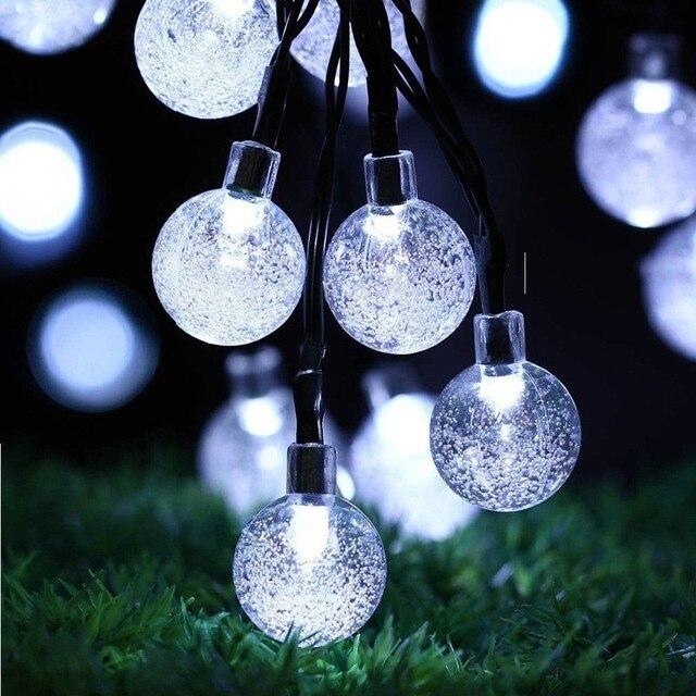 Открытый Свет Строка Солнечной Энергии Crystal Ball LED 6 М 30 Светодиодов огни Полосы Christmas Party Декор СВЕТОДИОДНЫЕ Лампы Новый Год Свет строка