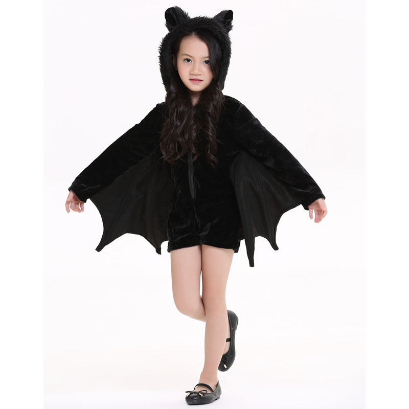 child adult animal cosplay cute bat costume kids halloween costumes for girls black zipper jumpsuit connect wings batman clothes in movie tv costumes from