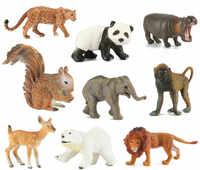 Modelo de animales de la vida Real juguetes de modelo realista de animales de zoológico figuras de acción gris lobo para niños jugar a la mesa de casa juguete