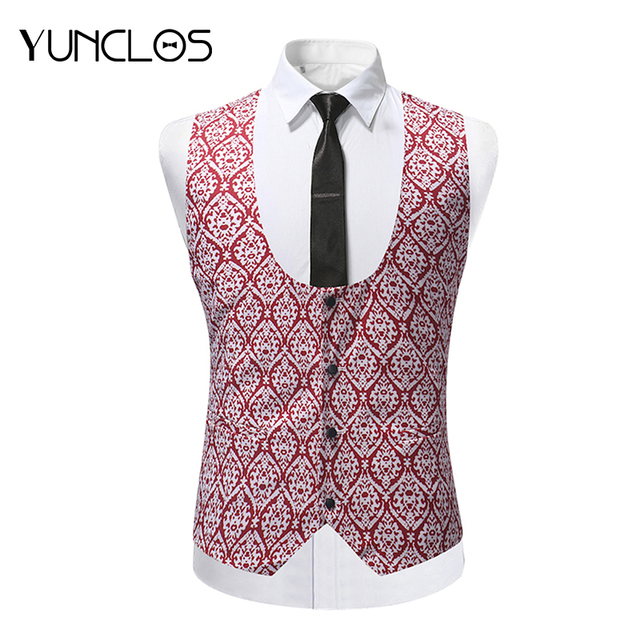 YUNCLOS 2018 Slim Fit Men Suit Vest Wedding Party Groom Suit Vest Waistcoat Formal Single Breast Colete Masculino