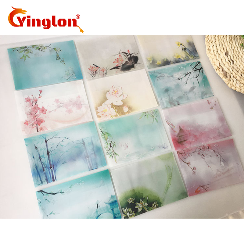Free Shipping 10pcs/lot China Style Tracing Paper Envelope Landscape Painting Transparent Paper Envelopes Invitation Card