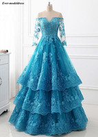 Off Shoulder Blue Quinceanera Dresses Long Sleeves Lace Appliques Tiered Illusion Top Floor Length Sweet 16 Debutante Dresses