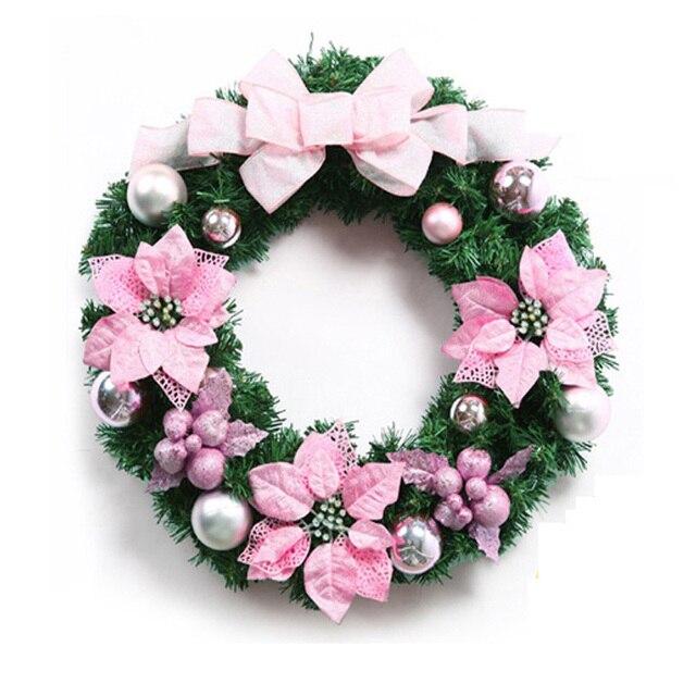 50cm Luxury Pink Christmas Wreath Fashion Christmas Ornament Door  Decoration Enfeite De Natal Pink Door Ornament
