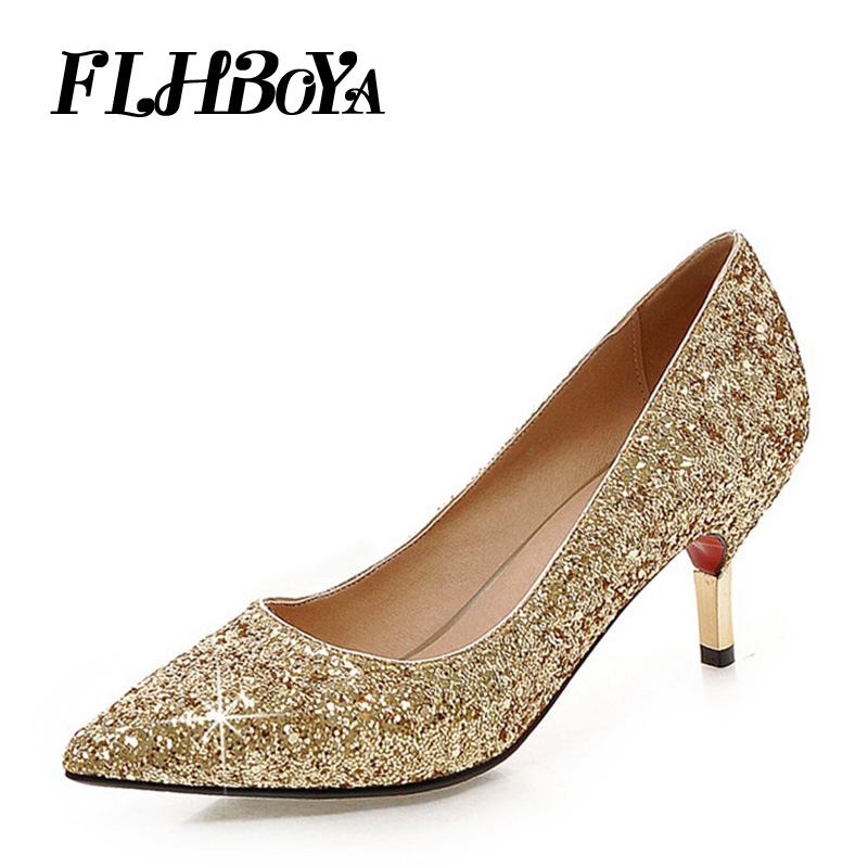 FLHBOYA Fashion New Look Bling Pointed Toe Women Pumps Wedding Sexy Thin High Heels Court shoe Ladies Light Club Party Plus Size yeelves new women fashion thin high heels pumps yellow or black heels court shoes pumps for ladies girl party plus size bowtie