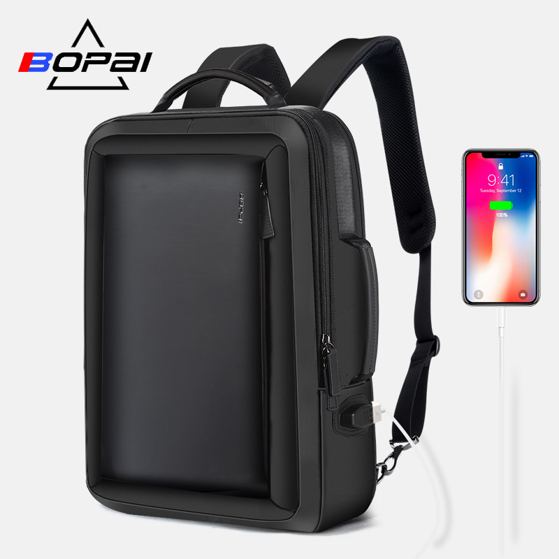 BOPAI Men Backpack Enlarge Anti theft Laptop Backpack for 15 6 Inches USB External Charge Multifunction