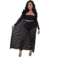 Sexy Sheer Mesh Bodysuits Women 3 Piece Set Long Sleeve Hollow Out Bodycon Jumpsuit Strapless Crop Top Long Pants Club Jumpsuits