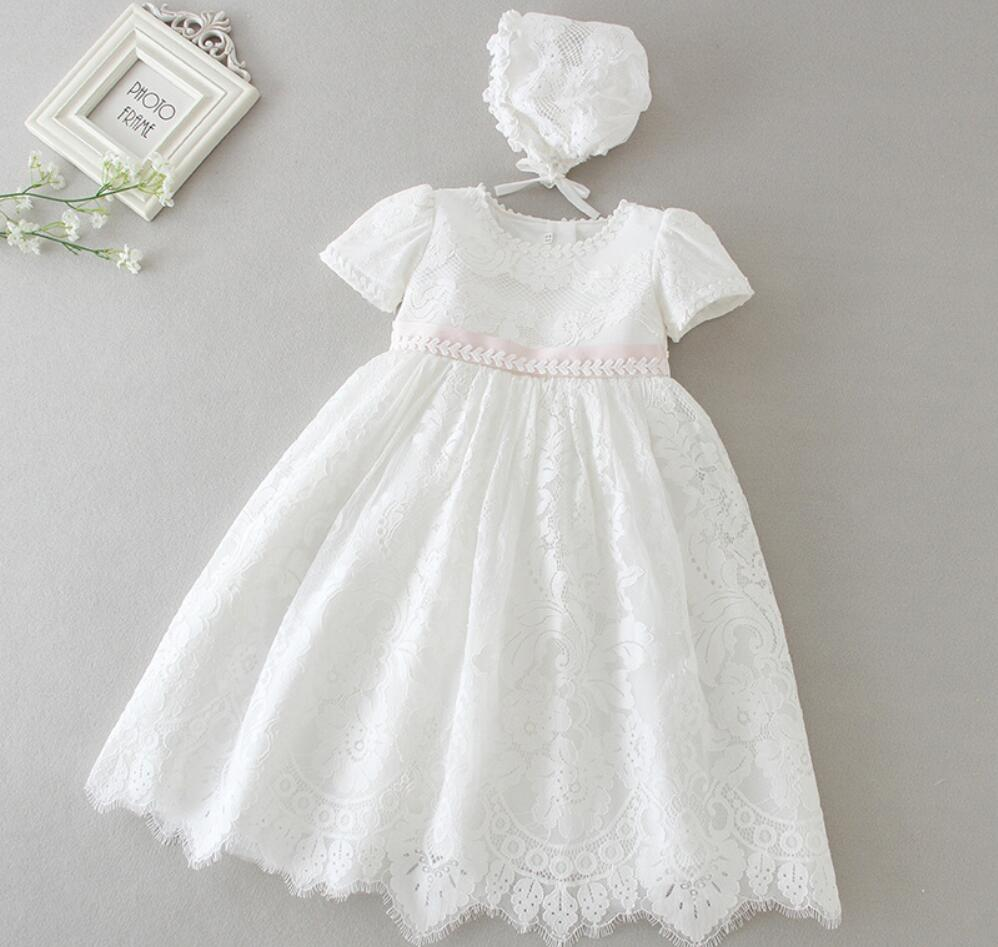 2PCs per Set Baby Girl Baptism Dress White Infant Girl Embroidery Pink Waist Christening Long Gown Flower Hat 0 24Months|Dresses| |  - title=