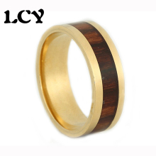 KOA Wood Inlay Ring Brand New Gold Plated Stainless Steel Rings 316L Jewelry Fashion Vintage Bijoux Bague Anel Masculino Anillos