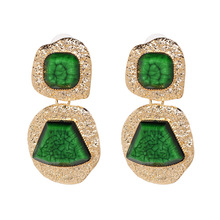 Punk Style Metal Stone Drop Earring Women Fashion Gold Color Pendant Pendientes Green Red Black Purple Brown Earrings Jewelry