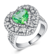 Emerald ring Diamond rings Crystal lady heart shape Ring Green zircon plated 925 silver Gold costume  cubic zirconia B1176
