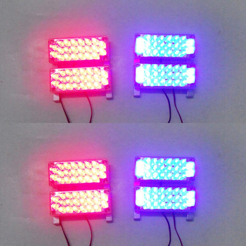 Car 6x22 132LED Strobe Flash Warning EMS Police Light Firemen Emergency Power 6*22 Red Blue White green Amber Yellow 3 modes