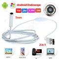 El envío gratuito! 7mm 6LED Android Endoscopio Impermeable Cámara de Vídeo de Inspección 2 en 1 USB 1 M/2 M/3.5 M/5 M