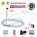 Free shipping! 7mm 6LED Android Endoscope Waterproof Inspection 2 in 1 USB Video Camera 1M/2M/3.5M/5M