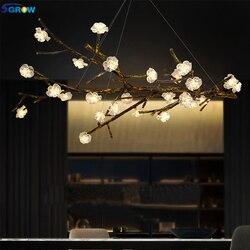 S grow szkło ręcznie robione kwiat śliwy żywicy oddział żyrandol do salonu jadalnia w stylu Art Deco oświetlenie oprawy wiszące Lampara