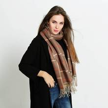 Fashion Tassel Scarf Women Winter Luxury Brand Tartan Foulard Mujer Striped Bufandas Thick Pashmina YJWD828