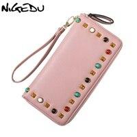 NIGEDU Brand Rivet Wallet Colorful Gems Women Long Zipper Wallets Wrist Purse Large Capacity Lady Clutch