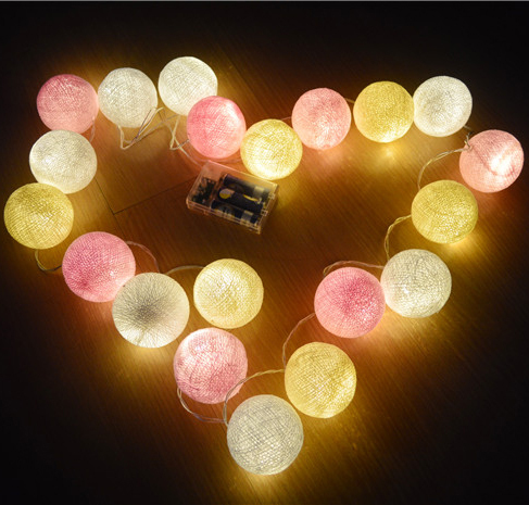 Pink-Cream-White mixed tone cotton ball string fairy lights , powered by 3AA battery, home party patio wedding decor
