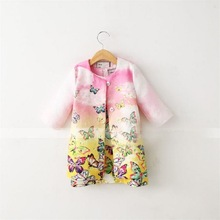 Euro and American style pink Jacquard coat Butterfly print three quarter dresses fashion white cotton two-piece sets hot sale