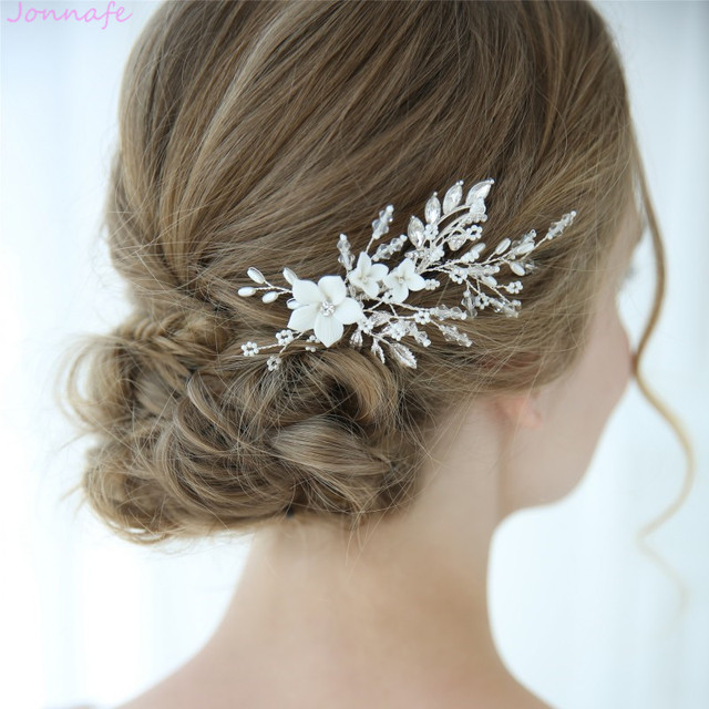Wedding Hairstyles With Jewels: Jonnafe Charming White Porcelain Flower Bridal Hair Pin