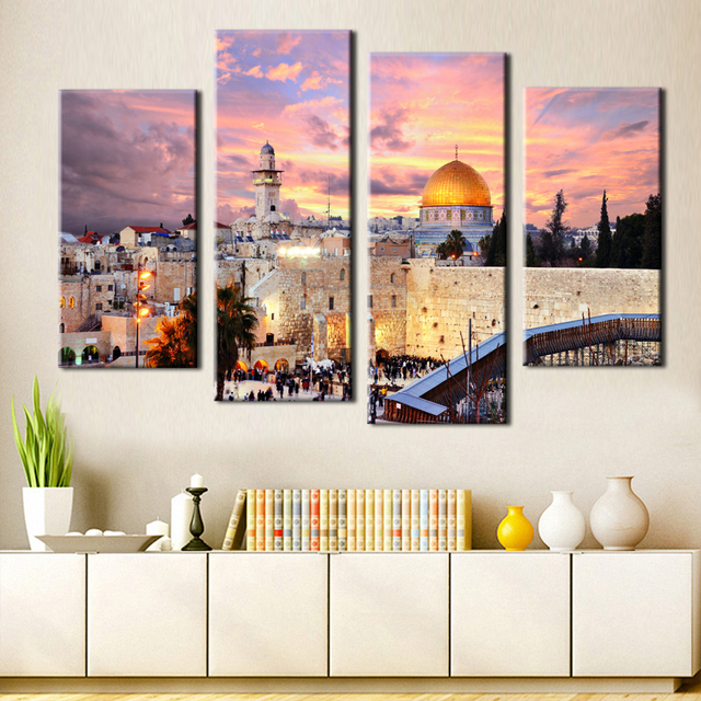 4 pieces modern wall art jerusalem picture home decoration canvas