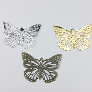 20 sztuk 30x50mm filigran kwiat motyl okłady metalowe Charms dla zdobienie księga gości DIY biżuteria metalowe rękodzieło okłady