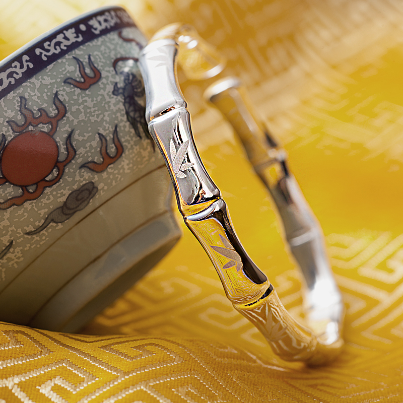 Женский модный изящный Открытый 100% 999 серебряный модный браслет браслеты с бамбуковым принтом знаменитый браслет, женская бижутерия подарок - 3
