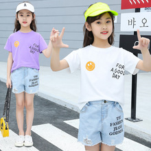 kids clothes Girls summer suit 2019 new casual fashion girls set round neck short-sleeved T-shirt denim shorts