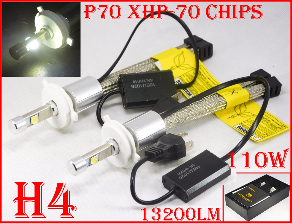 1 Set H4 HB2 9003 110W 13200LM P70 LED Faro XHP-70 4LED Chip Fanless Kit di conversione super luminoso Slim 5000K 6000K Hi / Lo Bea