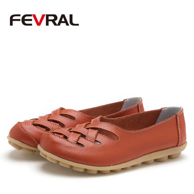 FEVRAL Moda Kadın kadın ayakkabısı Daireler Kız Sandalet Kauçuk Bahar Yuvarlak Ayak Bölünmüş Inek Deri Üzerinde Kayma rahat ayakkabılar Kadın