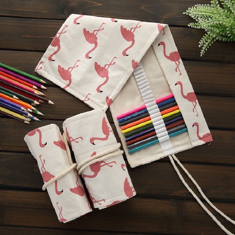 Flamingo Roll Pencil Bag Canvas Pen Holder Stationery 36/48/72 Holes Roll Pouch Makeup Cosmetic Brush Pen Storage Bag School student pencil pen cosmetic makeup brushes case makeup tool holder bag storage pouch makeup organizer canvas high quality