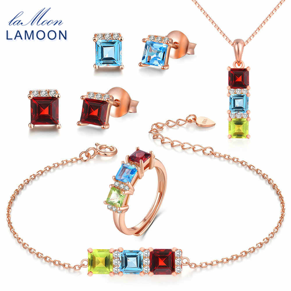 LAMOON Real 925-Sterling-Silver Natural Red Garnet Blue Topaz Green Peridot 5PCS Jewelry Sets for Women Wedding Gift V012-1