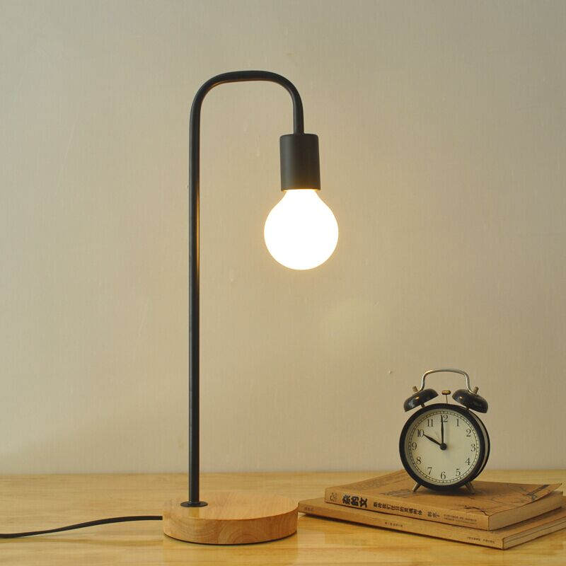 North European style retro minimalist modern industrial wood desk lamp bedroom study desk lamp bedside lamp european pastoral village glass desk lamp bedroom bedside lamp warm modern minimalist creative flowers desk lamp free shipping