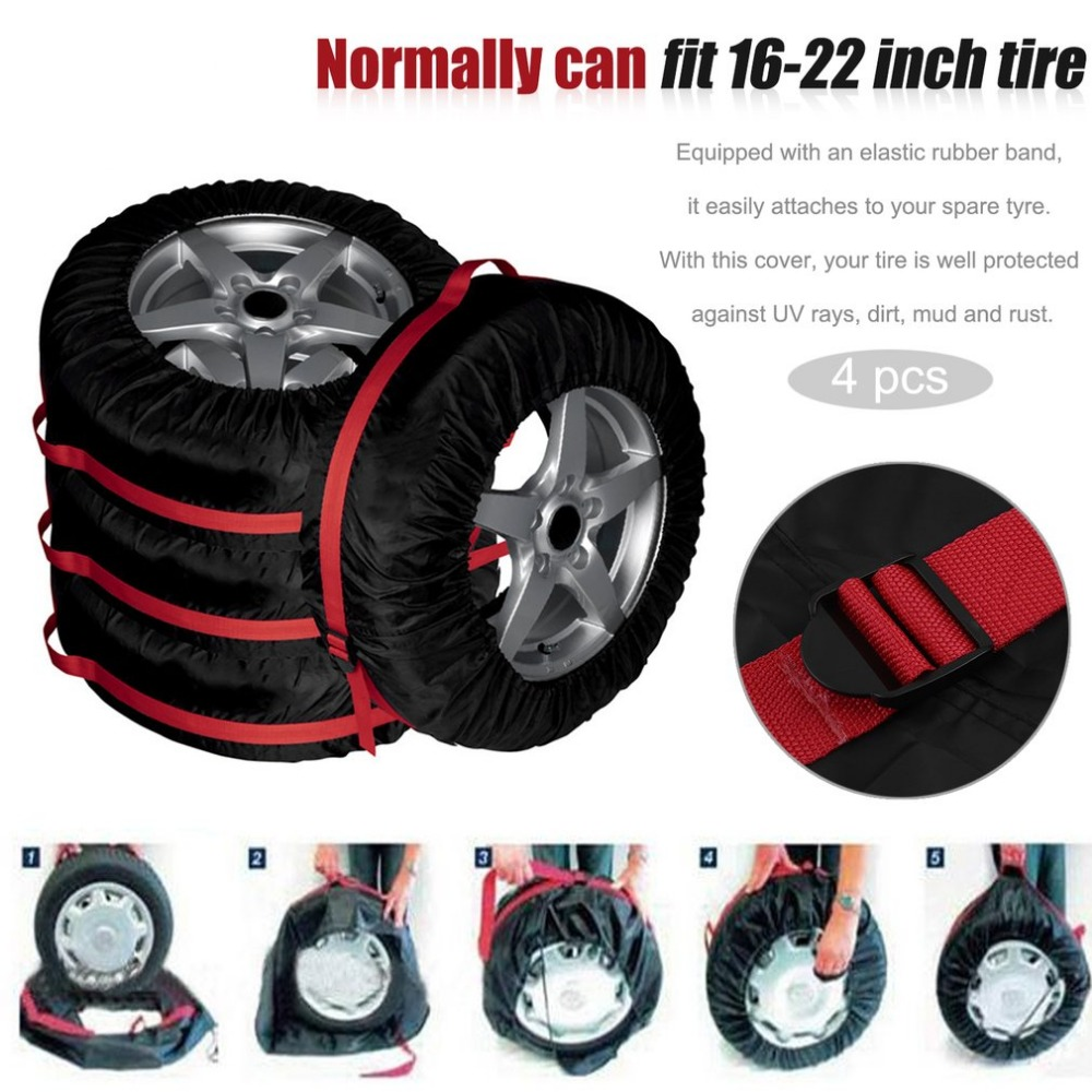 4Pcs Spare Tire Cover Case Nylon Winter Summer Car Tires Storage Bag Automobile Tyre Vehicle Wheel Protector For 16-22 inch Tire pvc car spare 15 tire tyre cover black yellow white