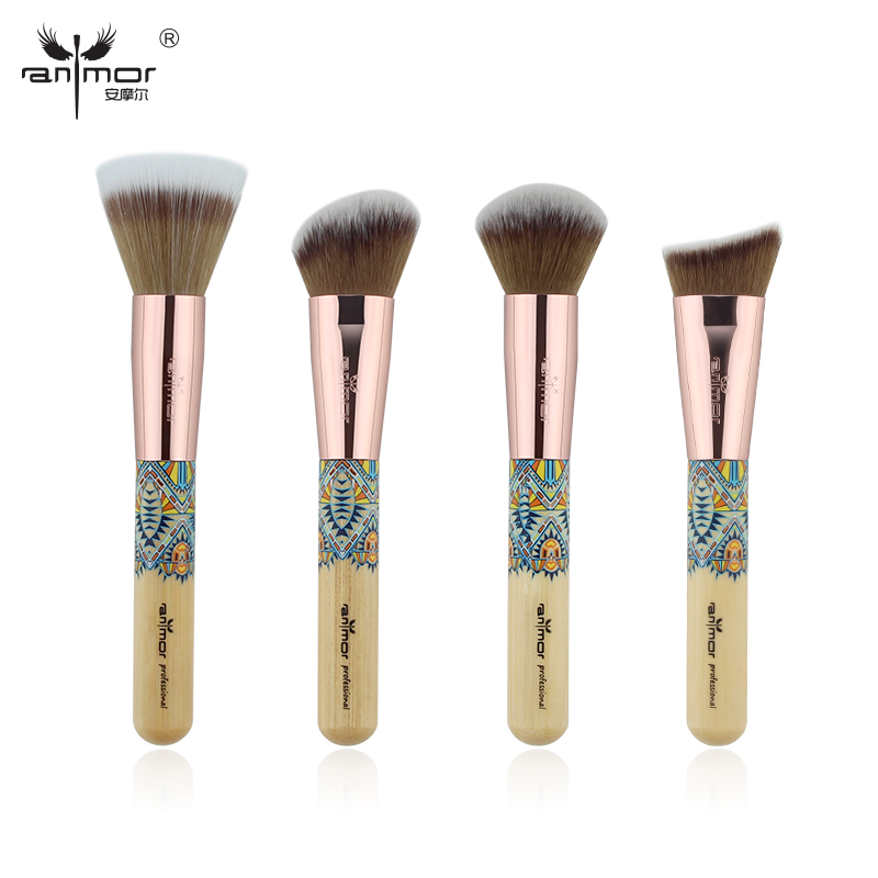 Anmor New 4PCS Facial Makeup Brushes Set Bamboo Friendly Kabuki Make Up Brush Professional Beauty Makeup Tools anmor eyelash comb brush high quality eyebrow makeup brushes for daily or professional make up