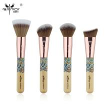 Anmor New 4PCS Facial Makeup Brushes Set Bamboo Friendly Kabuki Make Up Brush Professional Beauty Makeup Tools
