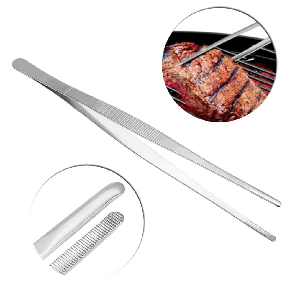 Mayitr Barbecue Tongs Food Tongs Clip Kitchen Stainless Steel Long Straight Tweezers Barbecue Buffet kitchen Tool BBQ Accessory