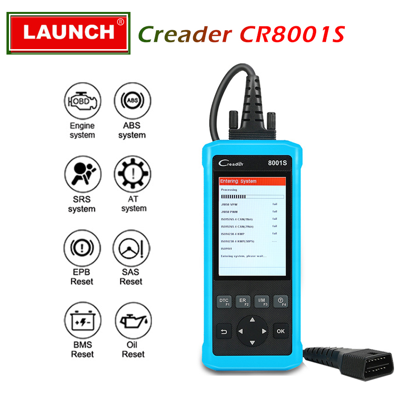Launch Creader 8001S OBD2 Code Reader Diagnostic Tool Four Systems Full obdii Functions CR8001 S Diagnoses