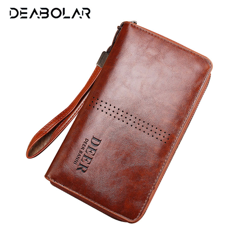Leather Men Wallets Business Brand Card holder Coin Purse Men Long Zipper Wallet Leather Clutch Carteira Masculina