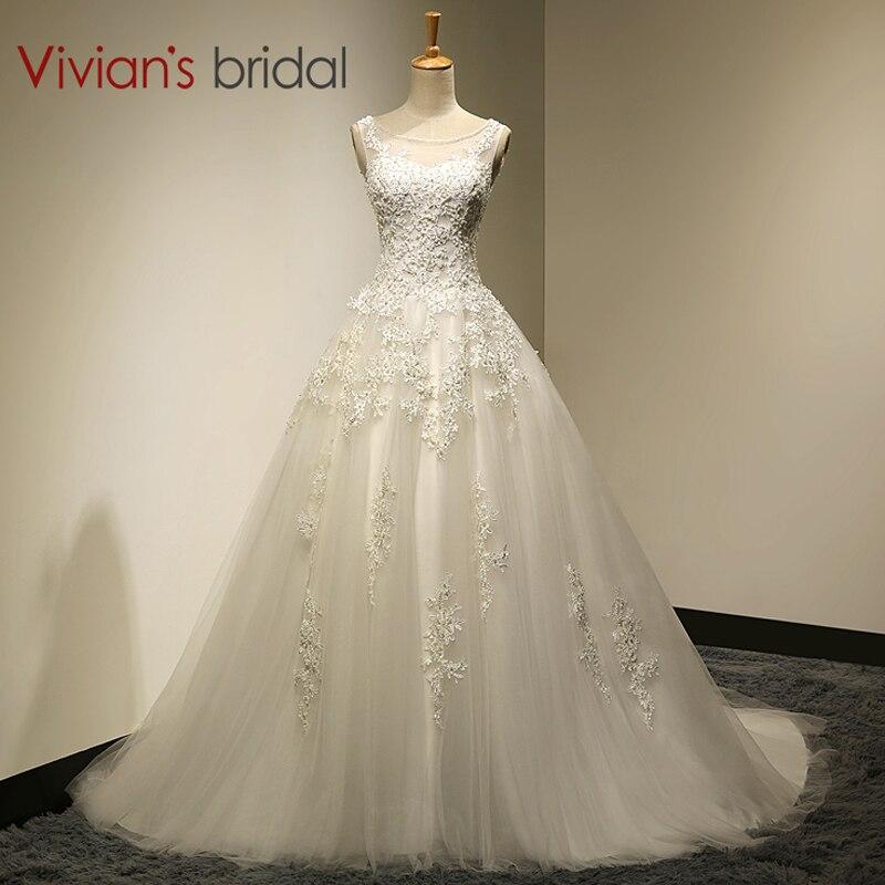 Vivian de Mariée Real Photo A-ligne Scoop Cou à lacets Balayage Train robe de mariage 2016 Avec Perlé mariage De mariage Robes SA006