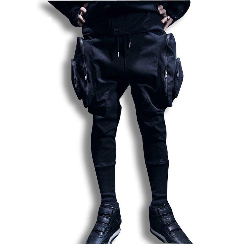 הכי חדש שחור לבן רזה כיסים גדולים - בגדי גברים