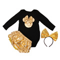 Newborn Cotton Mouse Clothes Set Kids Suits Black And Gold Romper+Bloomers+Headband 3 Pcs Baby Brand Baby Girl Clothing Sets