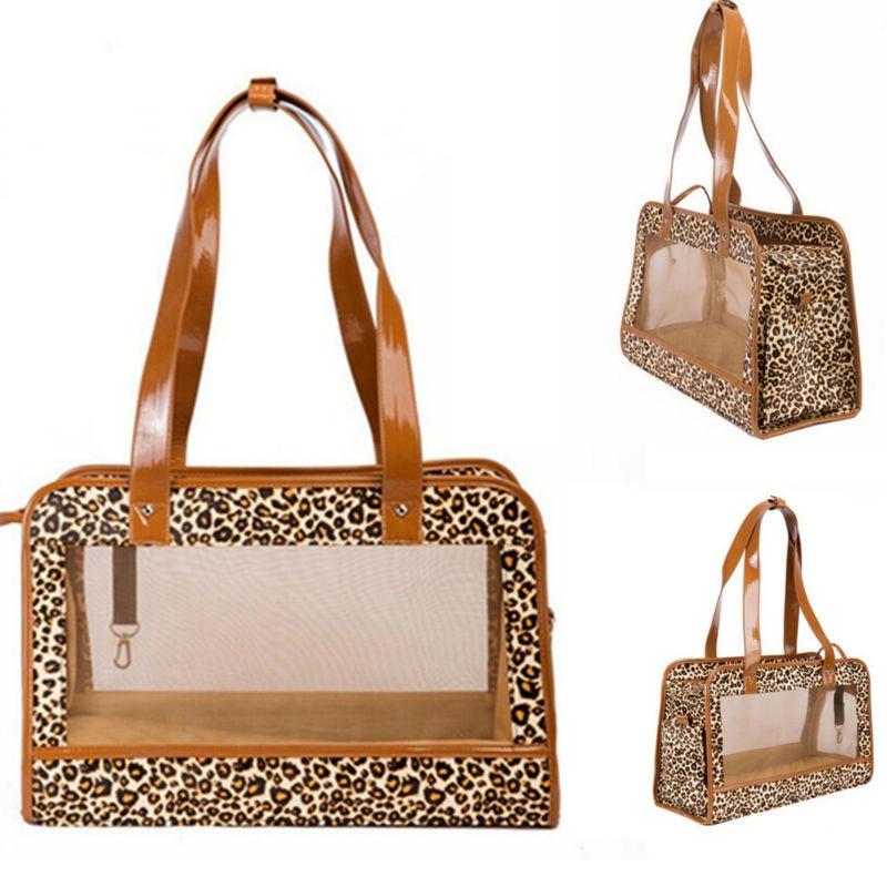 חתול נשיאת שקיות חיות מחמד נשא עבור כלבים קטנים כלבלב Leopard Mesh Travel Bag