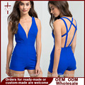Sexy Playsuits For Women V Neck Female Overalls Blackless Rompers Women Blue Jumpsuit Combinaison Short femme enteritos mujer