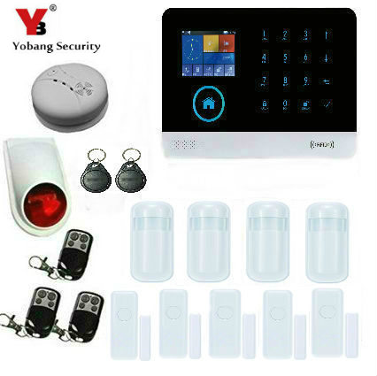 YoBang Security RFID Function Wireless WiFi GSM GPRS Home Office Safety System Wireless Security Alarm Smoke Alarm Sensor.