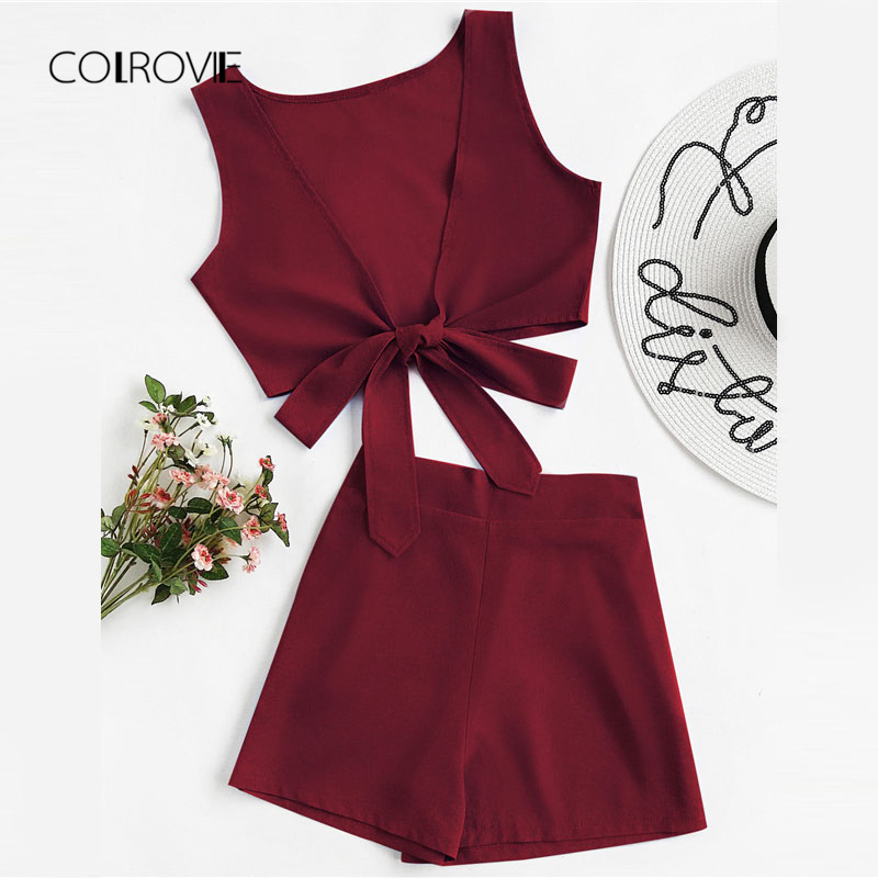 COLROVIE Knotted Multiway Crop Tank Top With Shorts 2018 Deep V Neck Sleeveless Women Clothing Summer Knot Two Piece Set