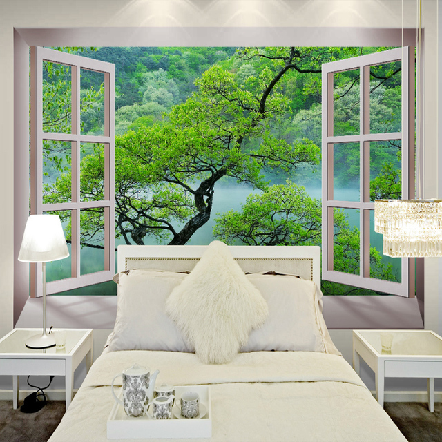 Buy free shipping 3d fake windows tree for Tree wallpaper bedroom