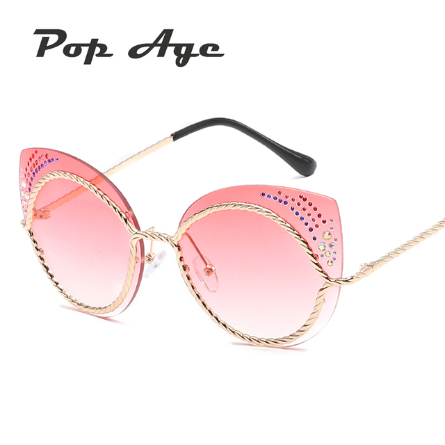 87274dadd4 Pop Age Wholesale New Colorful Diamond Cat Eye Sunglasses Women Ladies Sun glasses  Lunettes de soleil