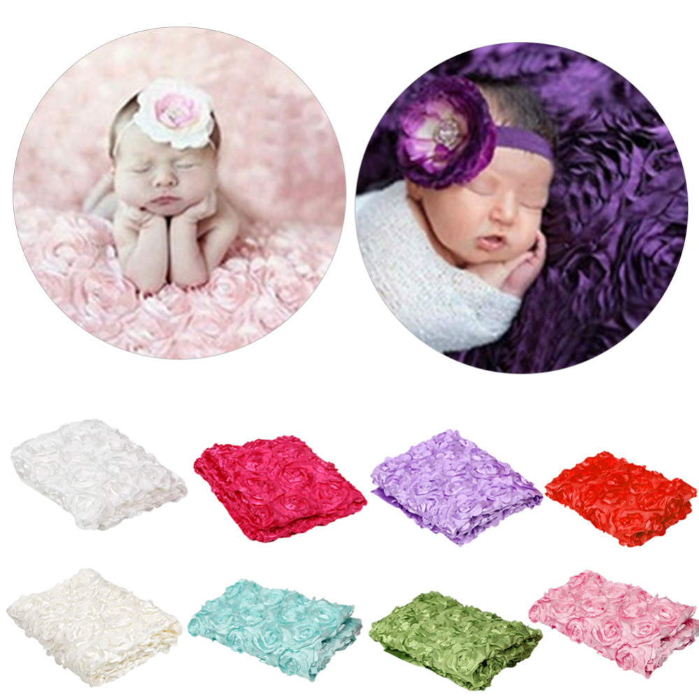 Hot Sell Baby Photography Photo Props 3D Rose Flower Backdrop Beanbag Blanket Rug Colorful Rose Blankets