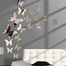 12Pcs/lot 3D Butterfly Mirror Wall Sticker Decal Wall Art Removable Wedding Decoration Kids Room Decoration Sticker #301450(China)