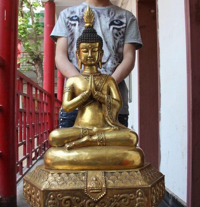 150629 S2232 29 China Bronze Copper Gild Fane Thailand Buddhism Sakyamuni Buddha Joss Statue